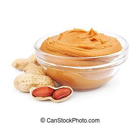 cremoso, manteiga amendoim, com, nozes