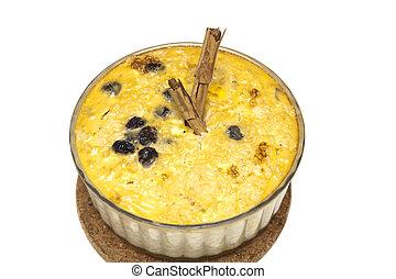 cremoso, pudim arroz, com, sultanas, e, cinnamon., um, simples, gostoso, e, nutritivo, dessert.