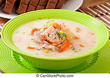 cremoso, salmón, finlandés, sopa