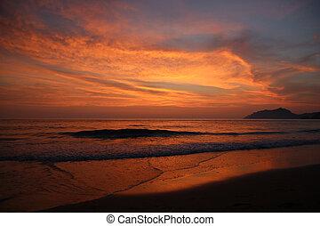 crepúsculo, após, pôr do sol
