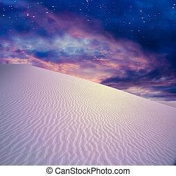 crepúsculo, céu, deserto