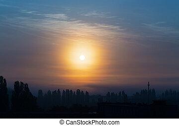 crepúsculo, céu, nuvens, sol