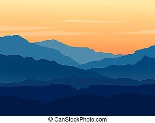 crepúsculo, em, montanhas azuis