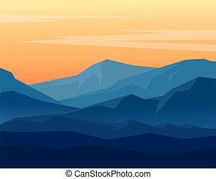 crepúsculo, en, montañas azules