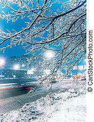 crepúsculo, inverno, rua, cidade