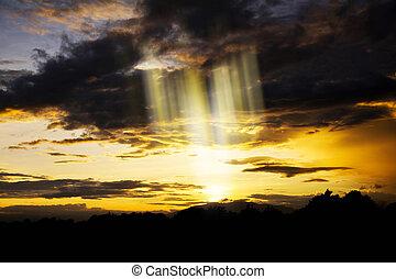 crepúsculo, nubes, belleza, cielo