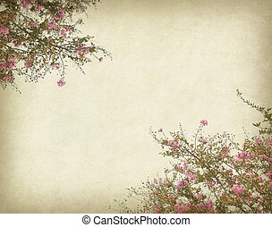 crepe myrtle flowers with old grunge antique paper texture