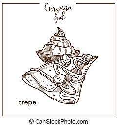 Crepe pancake sketch icon for European French food cuisine ...