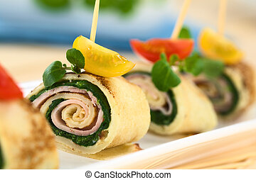 Crepe Rolls with Ham and Spinach - Crepe rolls as finger...