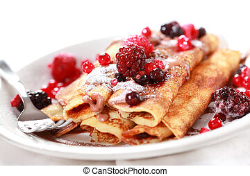 Crepes filled with chocolate and berries - Crepes filled...