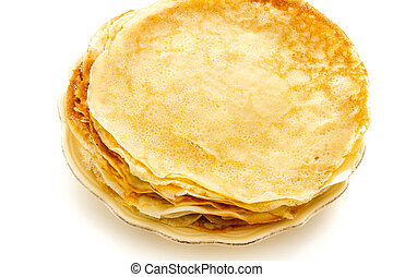 Crepes - Freshly homemade crepes on a white background.