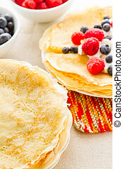 Crepes - Homemade crepes with fresh raspberries and...