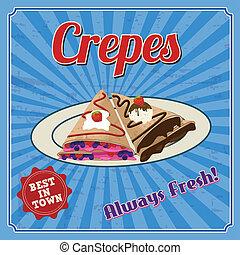 Crepes retro poster