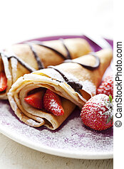 crepes with strawberries - sweet thin french style crepes, ...