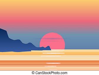 crepuscolo, montagne, osean, panorama, evening., isolato, tramonto, paesaggio, sole, mare, vettore, tramonto, montagne