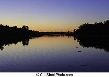 crepuscolo, sopra, lago
