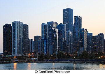 crepuscolo, vista, di, il, chicago, orizzonte