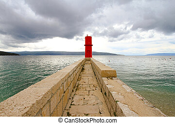 Cres lighthouse - Red lighthouse tower at island Cres in ...