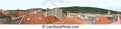 Cres rooftops - Panorama of roof tops Cres in Croatia