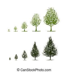 crescendo, desenho, fases, árvore, seu