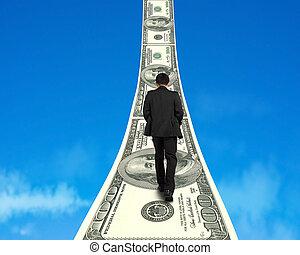 crescendo, dinheiro, andar, maneira, homem negócios