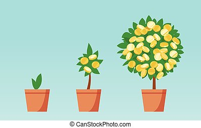 crescendo, dinheiro, moedas, árvore