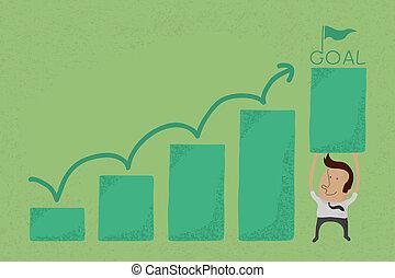 crescendo, homem negócios, gráfico