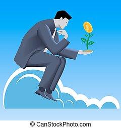 crescendo, lucro, conceito, negócio