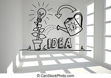 crescendo, luminoso, gráfico, sala, idéia