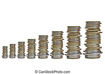 crescendo, moedas, vário, pilhas