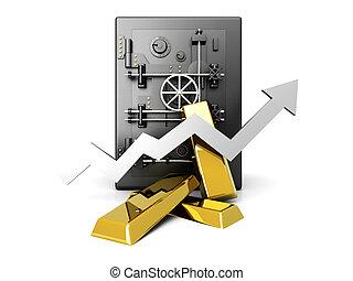 crescendo, ouro, depósito