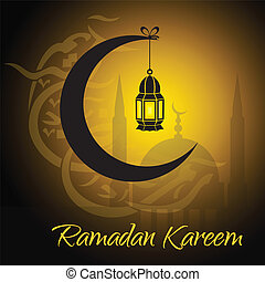 Crescent and lantern to light the holy Muslim month of Ramadan Kareem community
