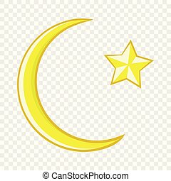 Crescent and star cartoon icon icon, cartoon style