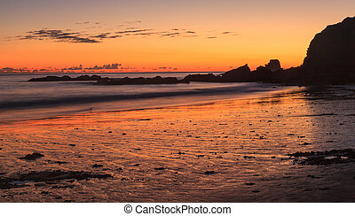 Crescent Bay beach panoramic view of the ocean at sunset in Laguna Beach, California, United States in summer