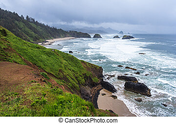 Crescent Beach at Ecola State Park near Cannon Beach,...