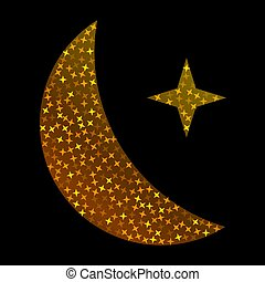 Crescent golden glitter moon on shiny black background for holy month of Muslim community Ramadan Kareem. Eid Mubarak glitter holiday design with glowing lights. Luxury gold crescent with confetti.