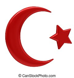 Crescent Islamic symbol isolated on a white background.