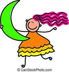 Cute cartoon whimsical illustration of a happy little girl holding a crescent shape.