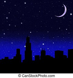 Black night sky plenty of stars with crescent Moon over a city