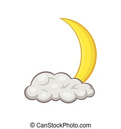 Crescent moon and cloud icon, cartoon style