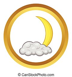 Crescent moon and cloud vector icon