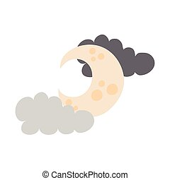 crescent moon and clouds flat style icon vector illustration design