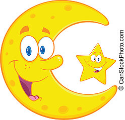 Crescent Moon And Happy Star - Smiling Crescent Moon And...
