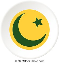 Crescent moon and star icon circle