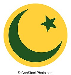Crescent moon and star icon, flat style