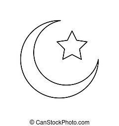 crescent moon and star islam symbol line style icon vector illustration design