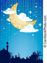 Crescent moon and stars - Greeting card layout with crescent...