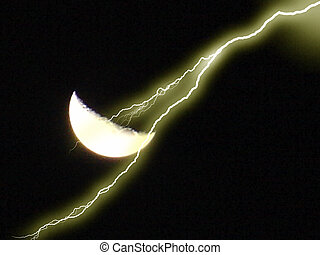 Crescent Moon & Bolt - A shot of the moon in crescent form...