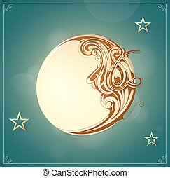 Crescent moon - Cartoon illustration with vintage style...
