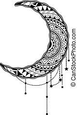 Crescent moon design - Crescent moon with ethnic ornaments ...